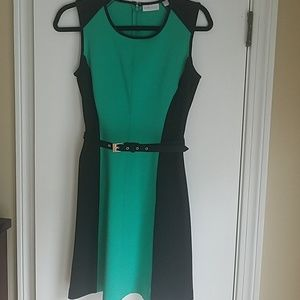 NY&Co Color Block Belted Dress XS